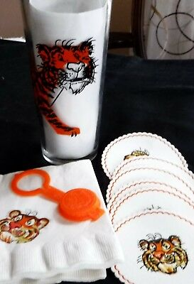 Exxon Esso Tony the Tiger Glass Tumbler Bottle Top Coasters Napkins Lot