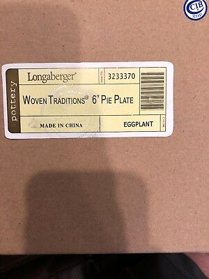 Longaberger Red Woven Traditions 6 Inch Pie Plate Eggplant 3233370 NEW