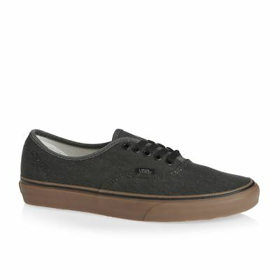 28e46be1de1b Vans Authentic Washed Canvas Black Gum Men s 7.5 Women s 9 Skate Shoes New