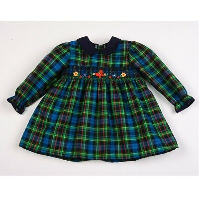 Spanish Style Romany Baby Girl Green Tartan Dress 12 months 18 months 2 years