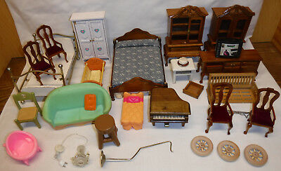 29 pc mix lot miniature Doll House Dollhouse Furniture & Access for Parts Repair