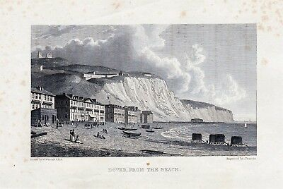 Antique Print: Dover From The Beach, 1830.