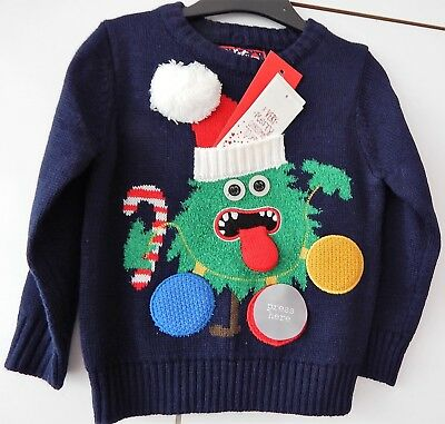 *NEW* 🎅🏽🎄🎁 F+F Boys Funny Christmas Tree Soft Knit Jumper Age 18-24 Months *