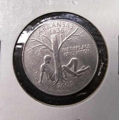 Arkansas 1836, 2003 Quarter w/ Birthplace of Bill Clinton Rare w/ Cigar