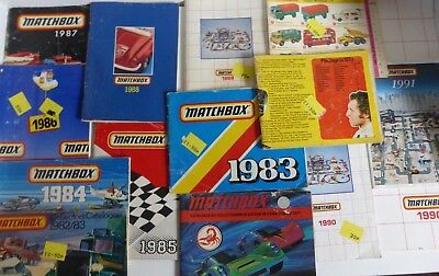 Matchbox Job Lot of Small Catalogs and 1 large one 70's x 2  80's x 9 90's x 3