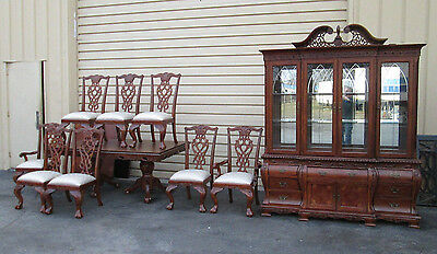 57892 Cherry  AICO Michael Amini Inlaid Dining Room Set China Table + 8 Chair s