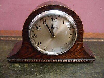 Antique Oak Cased Mantle Clock 8 Day Movement Works Well