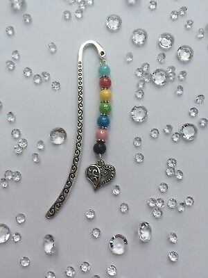 A Silver Heart Bookmark & Pearlescent Beads New.
