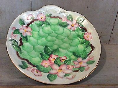 Maling Embossed Relief Plate - Green Apple Shaped Dish Pink Blossom Decoration
