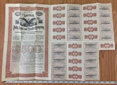 1905 American Pulp And Paper Company Gold Bond Stock Certificate + Stamps Maine