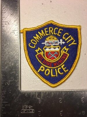 Commerce City Colorado Police Department Patch Felt Face Cheesecloth Reverse Old