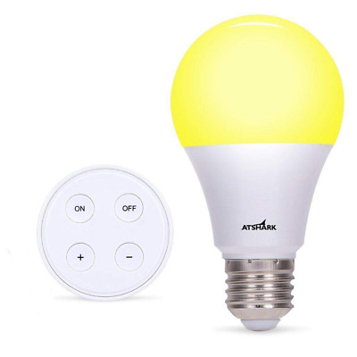 A19 Dimmable LED Light Bulb with Remote Controller - Atshark Bulbs 900 Lumen, E2