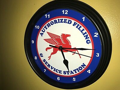Mobil Pegasus Oil Gas Service Station Mechanic Garage Man Cave Wall Clock Sign