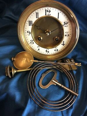 UNUSUAL FRENCH R&C 8 DAY STRIKING CLOCK MOVEMENT WITH PENDULUM, KEY & GONG c1880