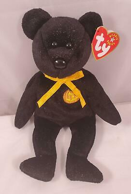 NEW 2003 Ty Beanie Babies Plush Black Glittery Haunt The Bear Pumpkin Halloween
