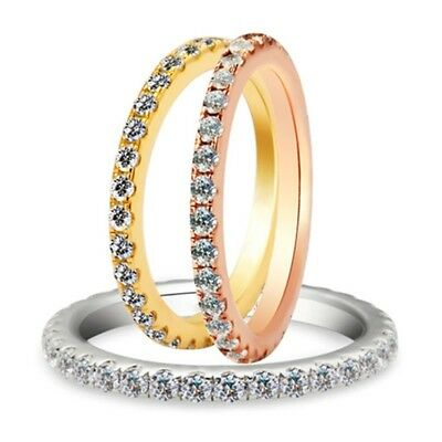 925 Silver White Topaz 3 Colors Jewelry Women Fashion Gift Band Ring Size 5-10