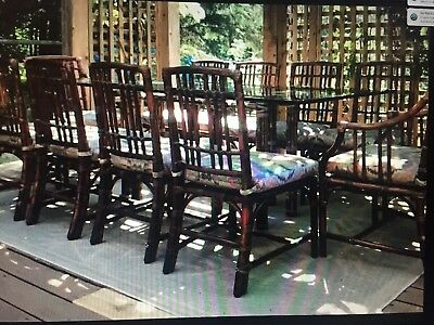 Rare Mcguire  (Indoor) 10-Seat Dining Set With Solid Glass Top