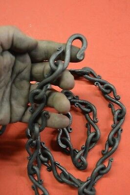Wrought Iron, S-Hook Chain, 1/4 in dia. Hand Forged  by Blacksmiths in the USA