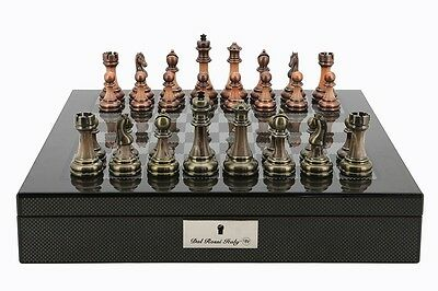 "Dal Rossi Italy Carbon Fibre Finish chess box with compartments 16"" With Antique"