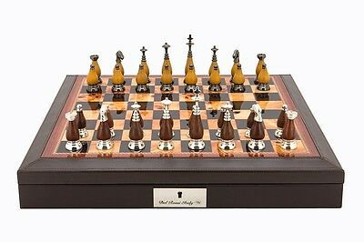 Dal Rossi Italy Brown PU Leather Bevilled Edge chess box with compartments