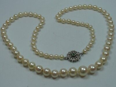 Very Nice Antique Long Saltwater Collier Pearl Necklace with Clasp from 750 Gold