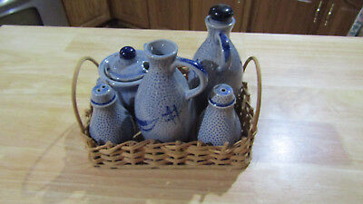 Vintage Japanese Condiment Set - Salt, Pepper, Oil, Vinegar, & Mustard - Japan