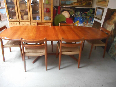 Danish Modern Mid Century Glostrup Solid Teak Dining Table & 6 Moller 84 Chairs