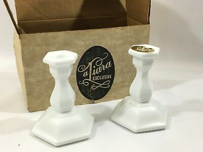 Vintage White Milk Glass Tiara Birthday Candle Holders NOS In Box T 211 Indiana