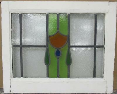 "OLD ENGLISH LEADED STAINED GLASS WINDOW Gorgeous Drop Design 21.25"" x 17.25"""