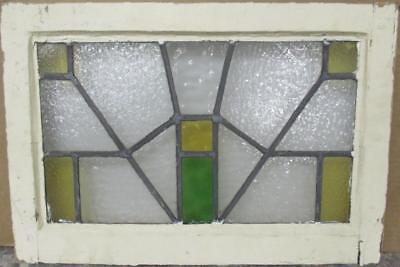 "OLD ENGLISH LEADED STAINED GLASS WINDOW Funky Geometric Design 22"" x 15"""