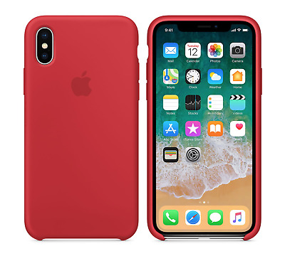 RED  GENUINE ORIGINAL Apple Silicone Case NEW iPhone X REAL RETAIL PRICE $39