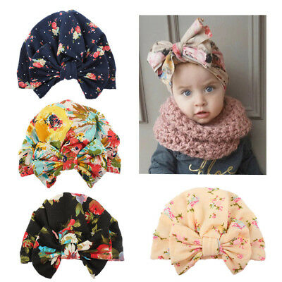 Cute Newborn Toddler Kids Baby Boy Girl Turban Cotton Head cap Winter Warm Cap