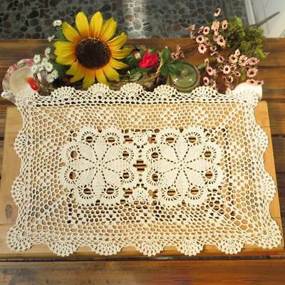 "Gracebuy 19""-31"" Rectangle Cotton Handmade Crochet Lace Tablecloth Doilies E11"