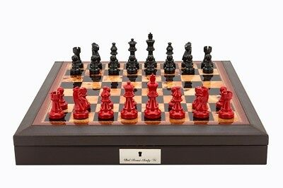 "Dal Rossi Italy Brown PU Leather Chess box with compartments 18"" with French Lar"
