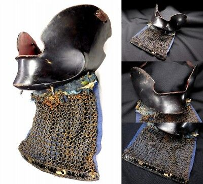 TETSUJI KUROURUSHI-NURI MENPO (Facemask of Armor) Japanese Edo Antique F491