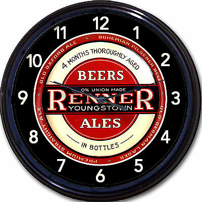 Renner Brewing Co Youngstown OH Beer Tray Wall Clock 100% Union Made Ale Lager
