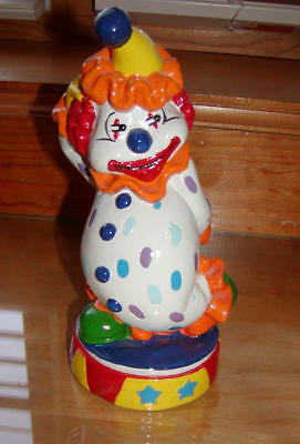 "Brightly color Hand Painted Clown Bank, 8"" x 3.5"" w/Bottom Stopper"