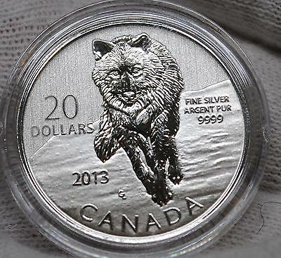 2013 Canada 1/4 Oz 9999 Pure Silver -Timber  Wolf - $20 Coin  - Sp Finish