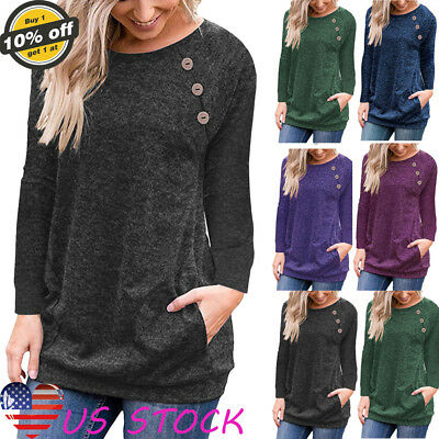 Womens Ladies Long Sleeve Pullover Blouse O-neck Tops Casual Button Pocket Shirt