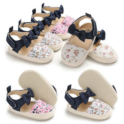 Fm- Baby Girls Toddler Autumn Floral Bowknot Soft Sole Shoes First Walker Stunni