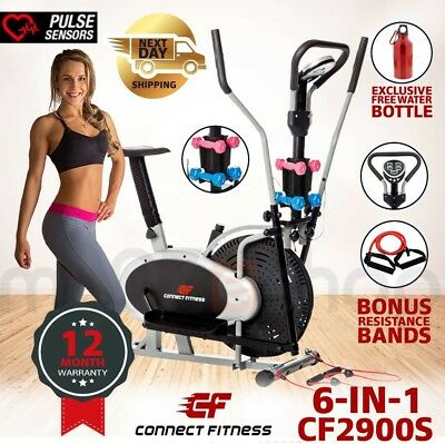 CONNECT FITNESS 6in1 Elliptical Cross Trainer & Exercise Bike Home Gym Equipment