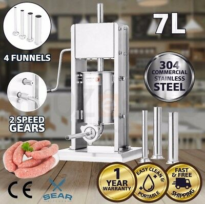 Sausage Stuffer & Maker 7 Litre - Commercial Stainless Steel Salami Filler 7KG