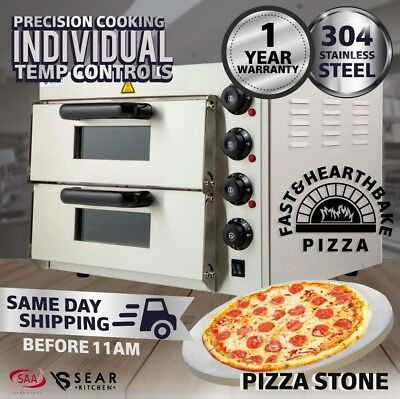 Sear Commercial Countertop Electric Pizza Deck Oven Double - Stone Base - 2.4kW