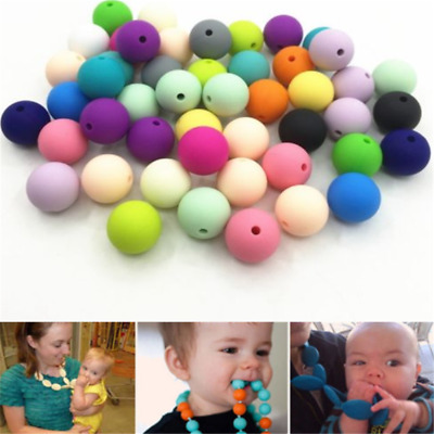 20X Baby BPA Free Silicone Teething Necklace Nursing Teether Round Beads 9Colors