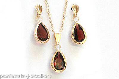 9ct Gold Garnet Teardrop Earrings and Pendant Necklace set Made in UK Gift Boxed