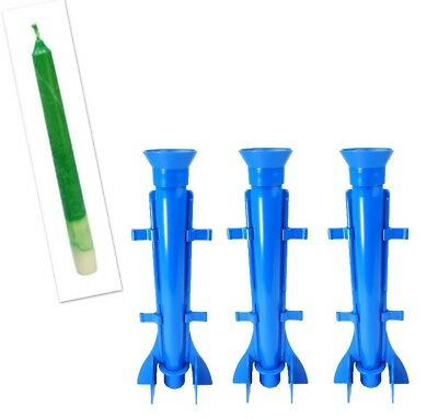 """Proops 3 x Long Tapered Rocket Shaped Candle Moulds 9.5"""" Long. UK Made. S7574"""
