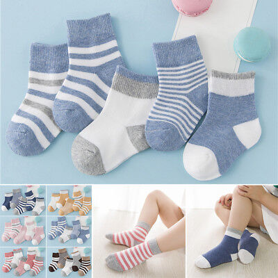 BABY BOY GIRL COTTON SOCKS 5 PAIRS NEWBORN ANKLE 6 Assorted Designs 0-6 Years