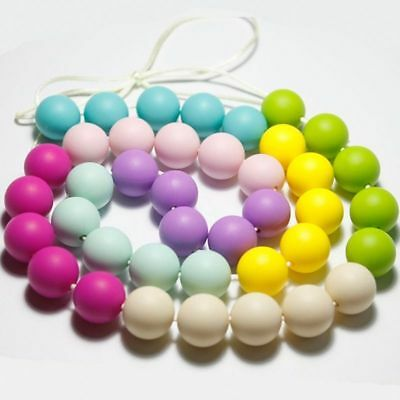 20pcs Chain Baby Teething Necklace Teether Charm BPA-Free Beads Silicone Chew