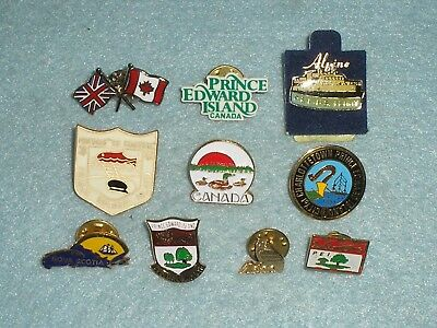 10 Vintage CANADA PRINCE EDWARD ISLAND CHARLOTTESTOWN ENAMEL BADGES -COLLECTION