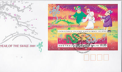 Christmas Island 2001 Year of the Snake MS FDC